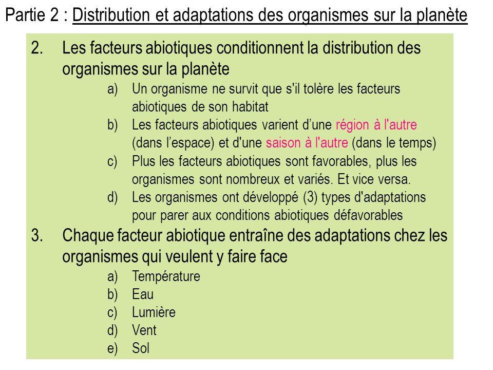 Partie 2 : Distribution et adaptations des organismes sur la planète