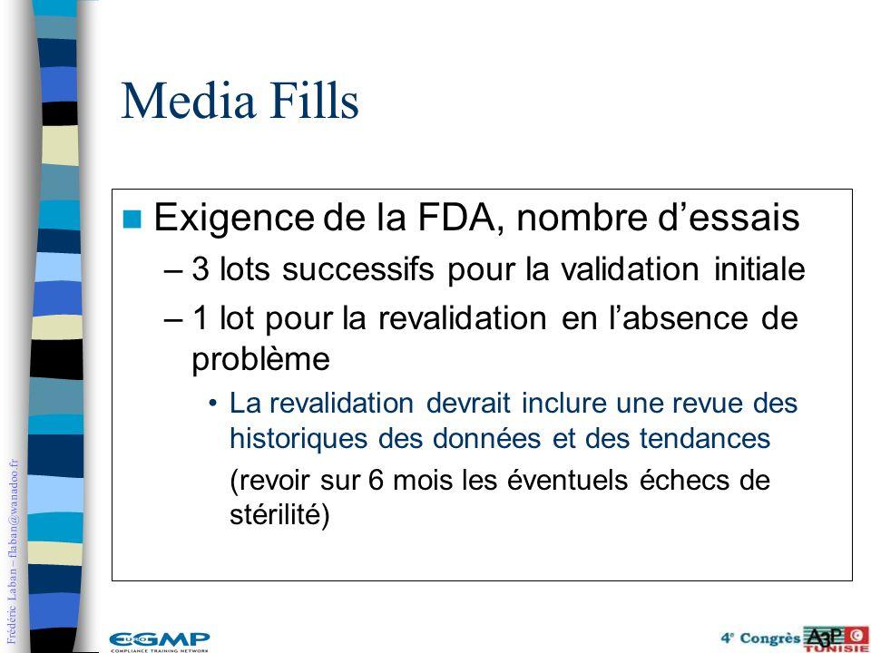 Media Fills Exigence de la FDA, nombre d'essais