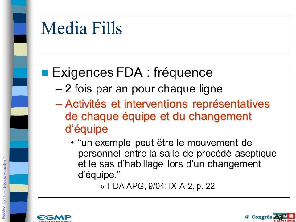 Media Fills Exigences FDA : fréquence 2 fois par an pour chaque ligne