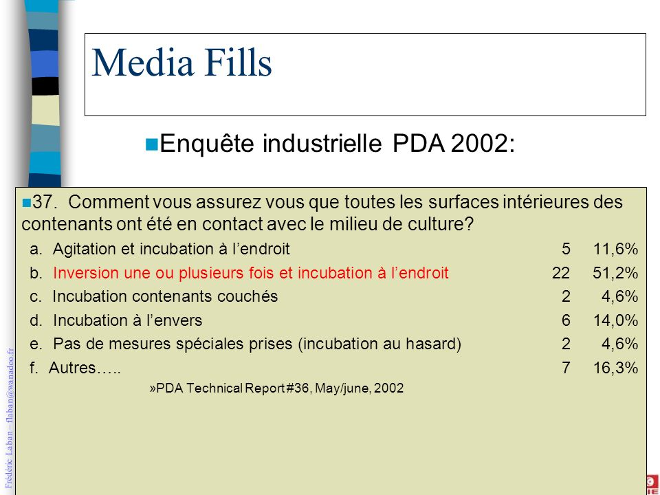 Media Fills Enquête industrielle PDA 2002: