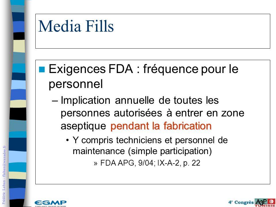 Media Fills Exigences FDA : fréquence pour le personnel