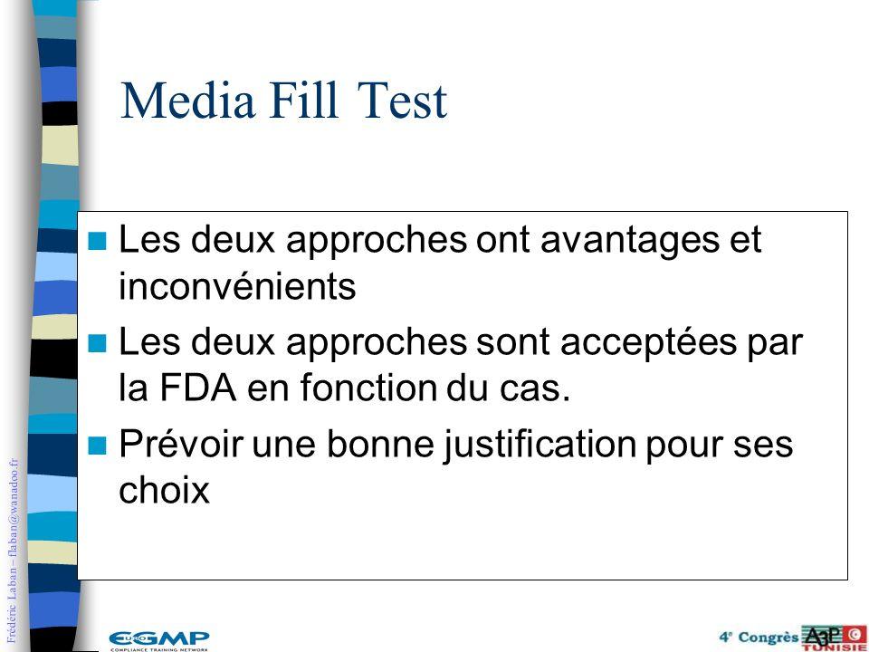 Media Fill Test Les deux approches ont avantages et inconvénients