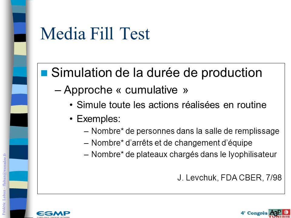Media Fill Test Simulation de la durée de production
