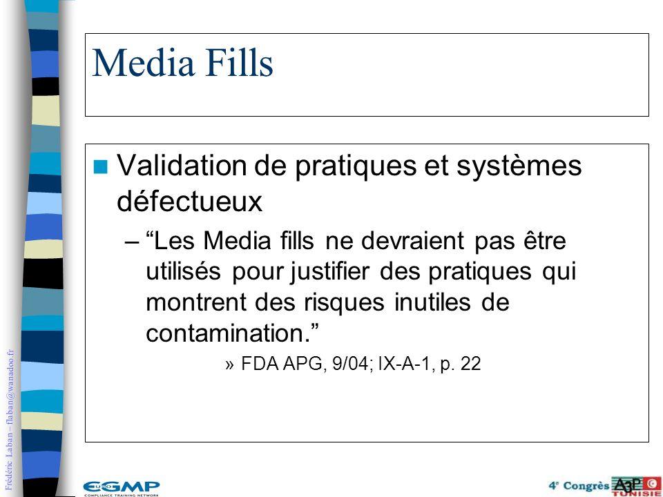 Media Fills Validation de pratiques et systèmes défectueux