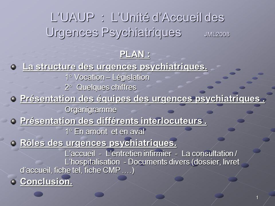 L'UAUP : L'Unité d'Accueil des Urgences Psychiatriques JML2008