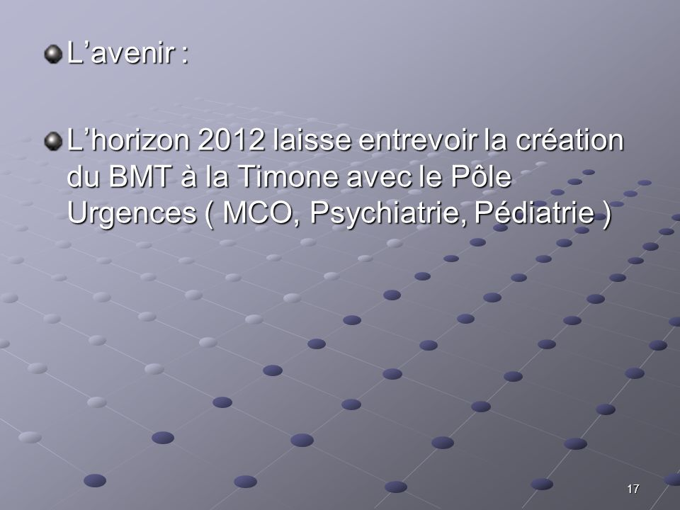L'avenir : L'horizon 2012 laisse entrevoir la création du BMT à la Timone avec le Pôle Urgences ( MCO, Psychiatrie, Pédiatrie )