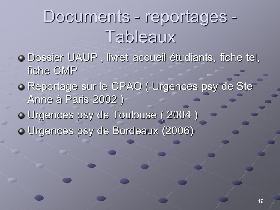 Documents - reportages -Tableaux