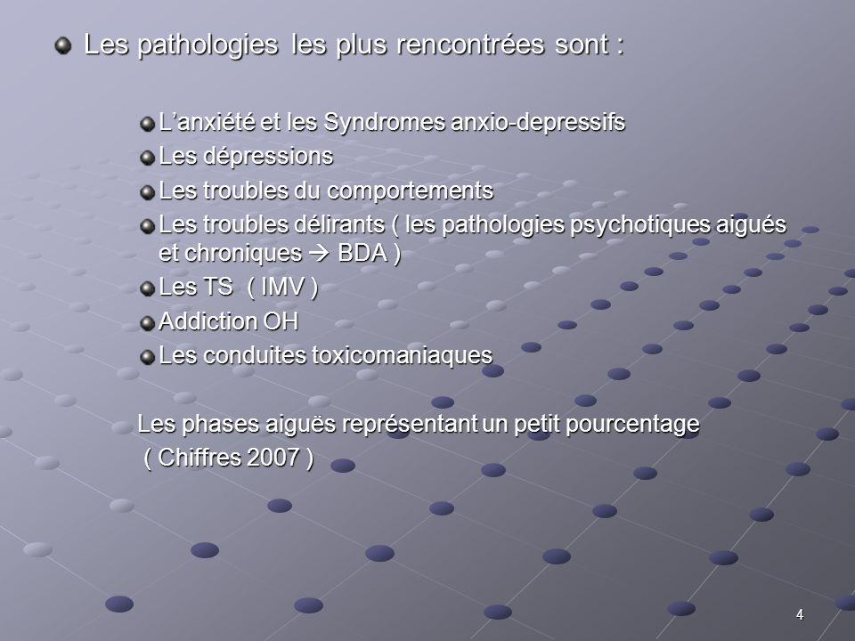 Les pathologies les plus rencontrées sont :