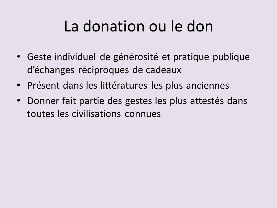 La donation ou le don Geste individuel de générosité et pratique publique d'échanges réciproques de cadeaux.