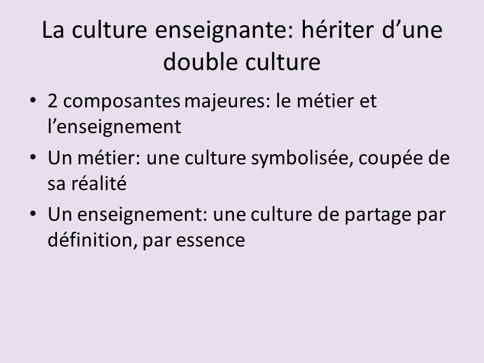 La culture enseignante: hériter d'une double culture