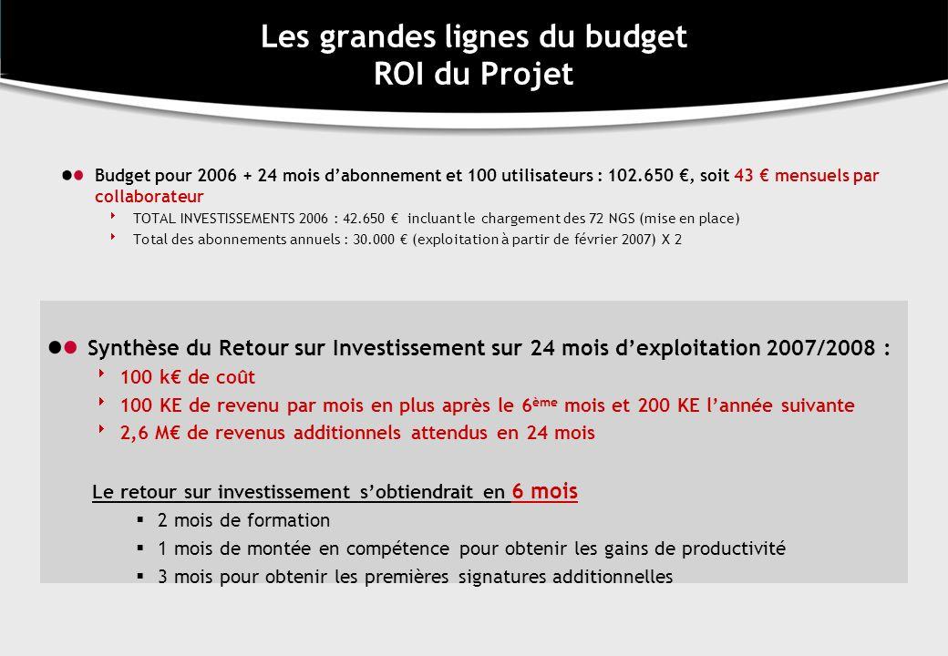 Les grandes lignes du budget ROI du Projet
