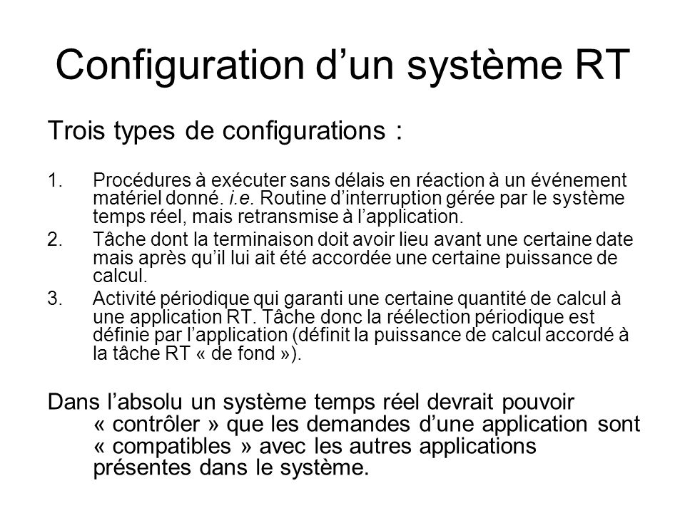 Configuration d'un système RT