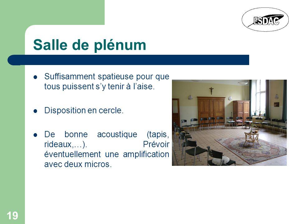 Salle de plénum Suffisamment spatieuse pour que tous puissent s'y tenir à l'aise. Disposition en cercle.