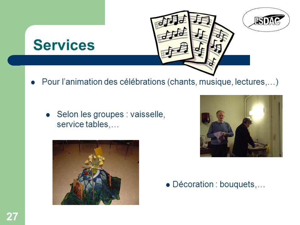 Services Pour l'animation des célébrations (chants, musique, lectures,…) Selon les groupes : vaisselle, service tables,…