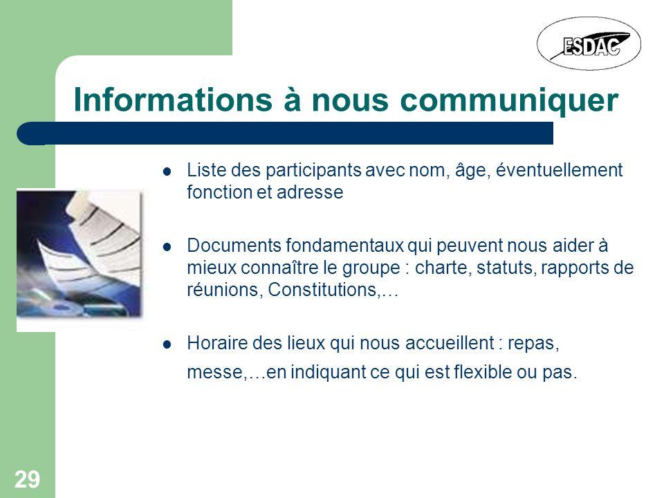 Informations à nous communiquer