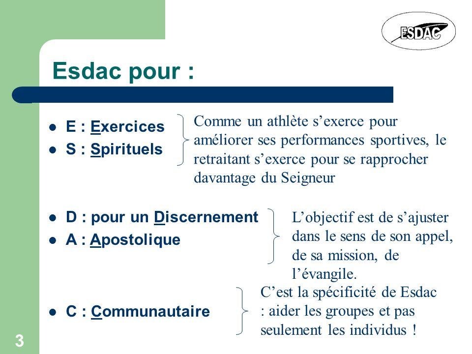 Esdac pour : Comme un athlète s'exerce pour améliorer ses performances sportives, le retraitant s'exerce pour se rapprocher davantage du Seigneur.