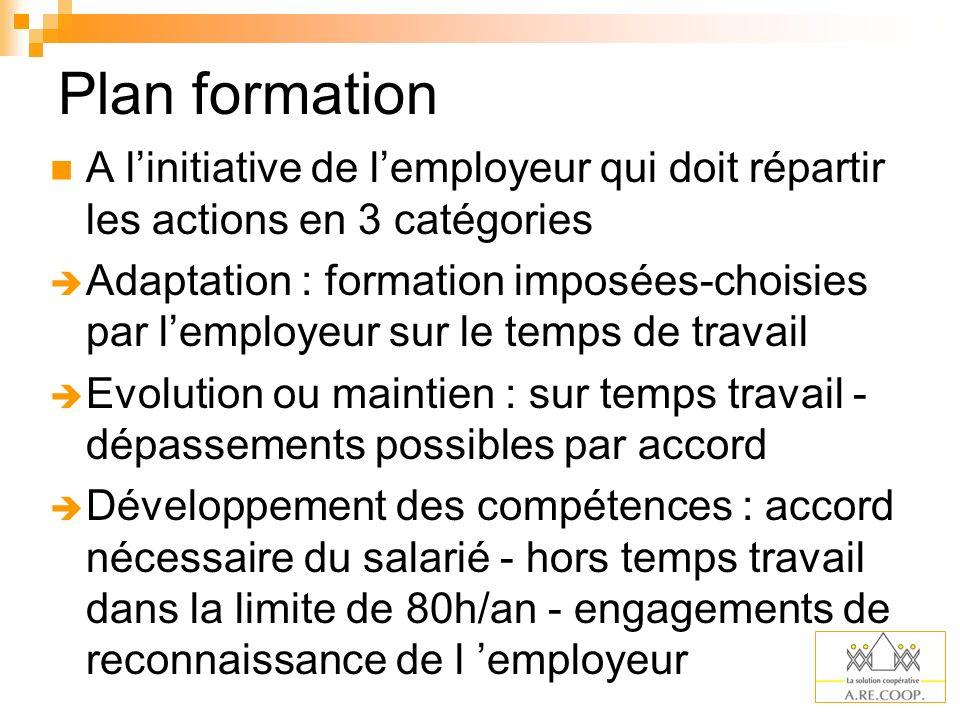 Plan formation A l'initiative de l'employeur qui doit répartir les actions en 3 catégories.