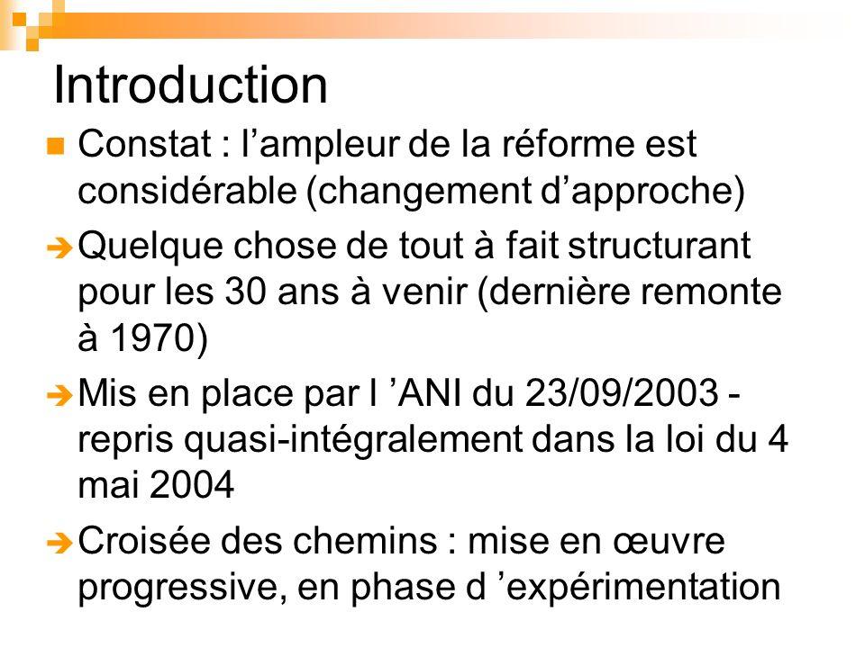 Introduction Constat : l'ampleur de la réforme est considérable (changement d'approche)