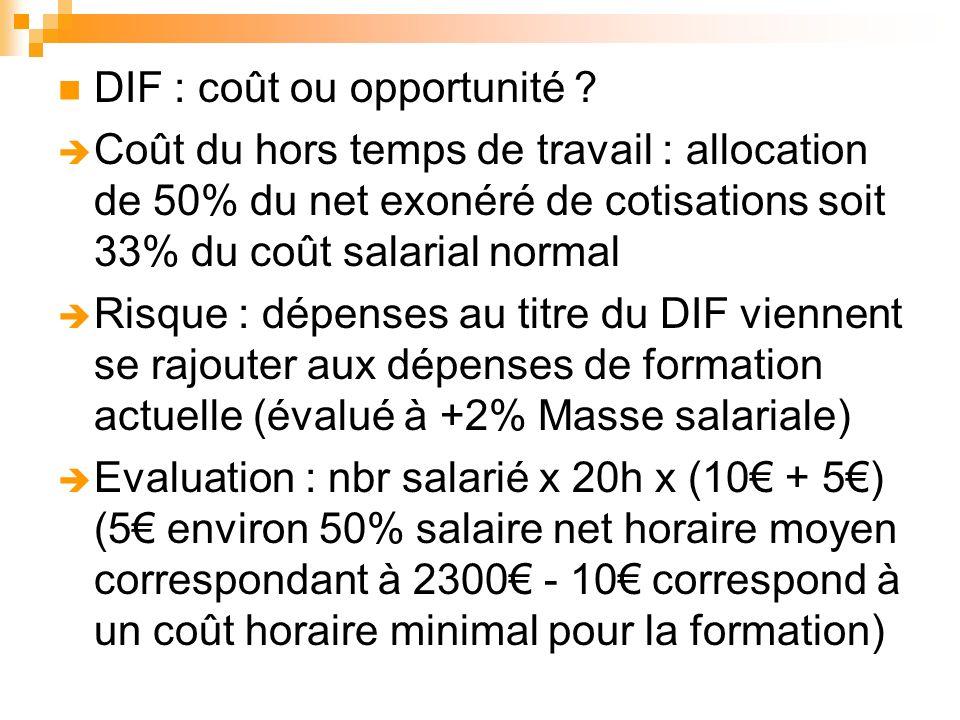 DIF : coût ou opportunité