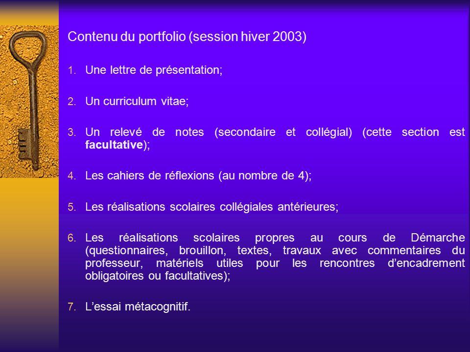Contenu du portfolio (session hiver 2003)