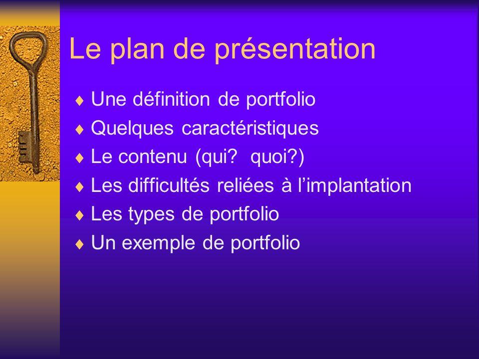 Le plan de présentation