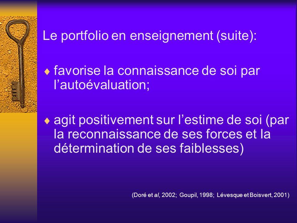 Le portfolio en enseignement (suite):