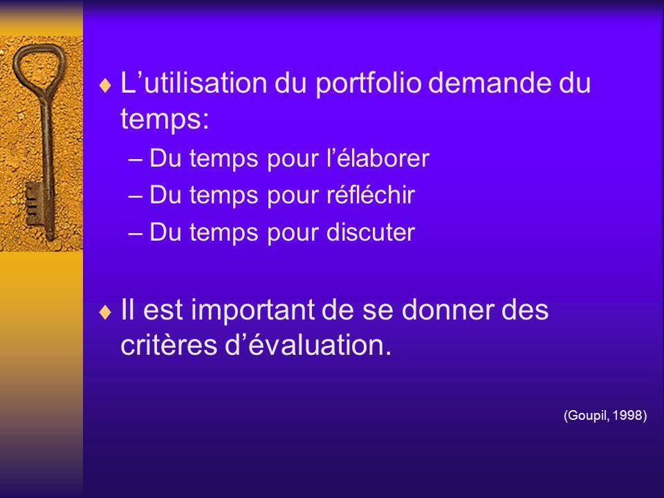 L'utilisation du portfolio demande du temps: