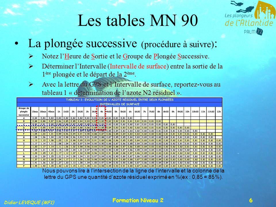 Les tables MN 90 La plongée successive (procédure à suivre):