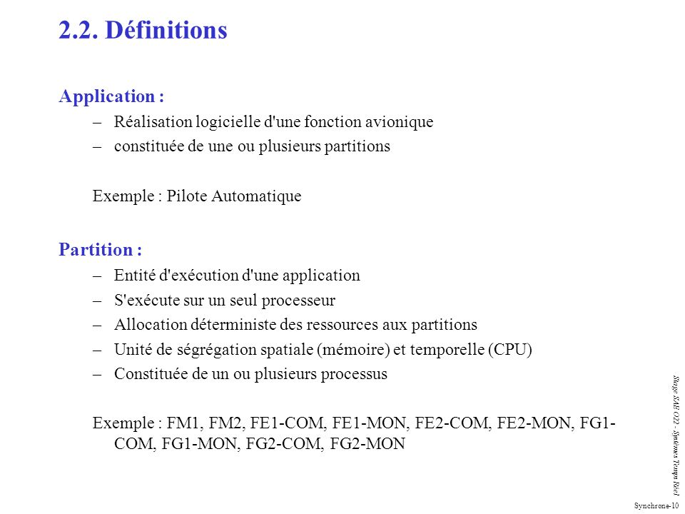 2.2. Définitions Application : Partition :