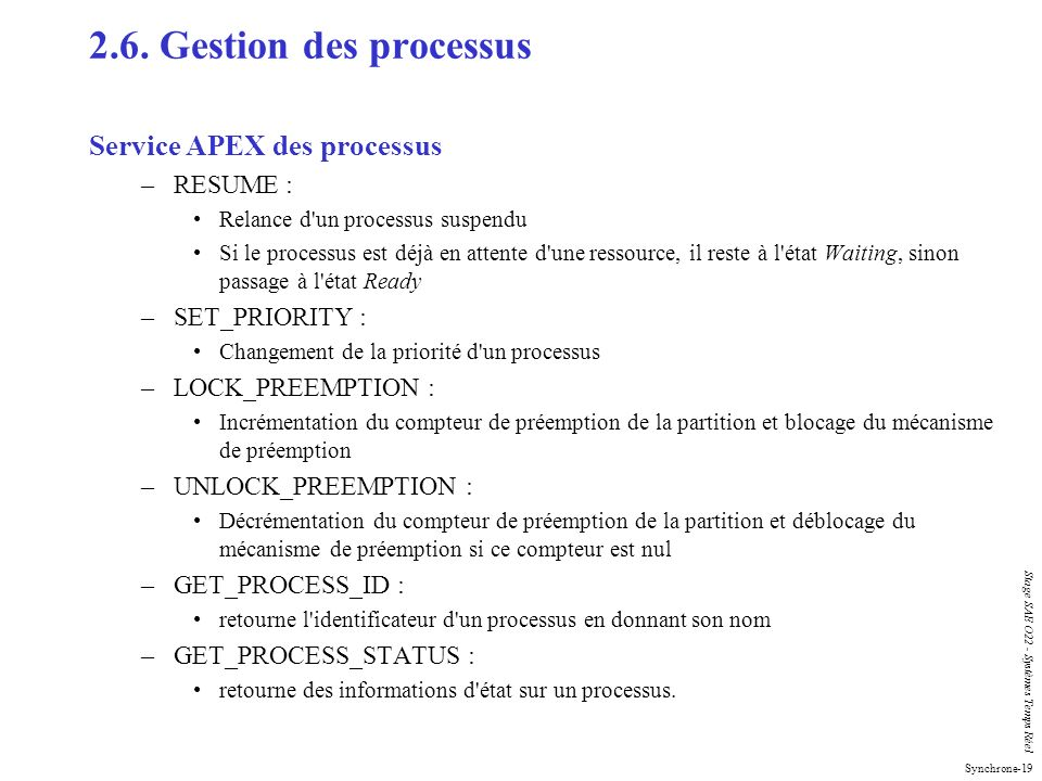 2.6. Gestion des processus Service APEX des processus RESUME :