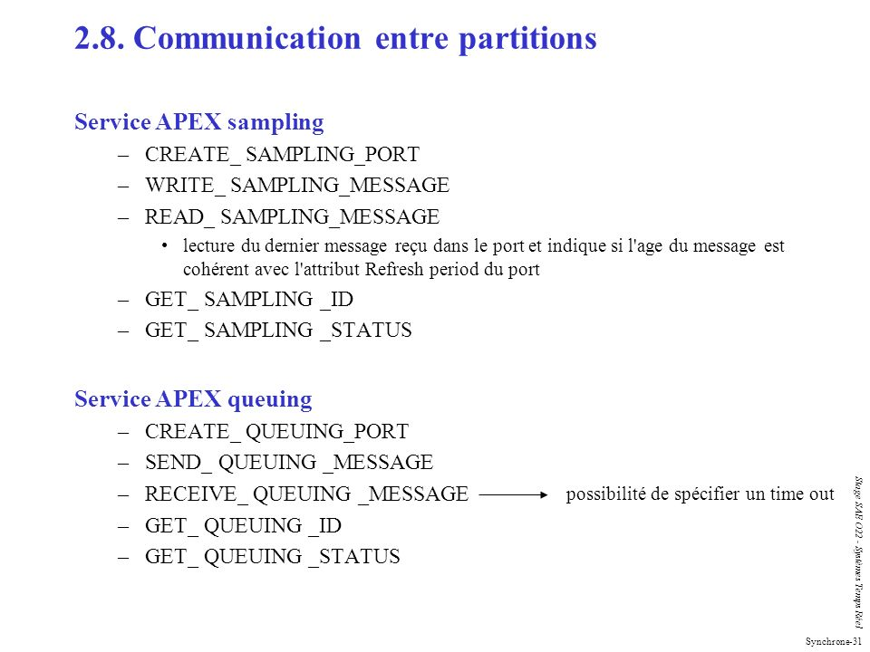2.8. Communication entre partitions