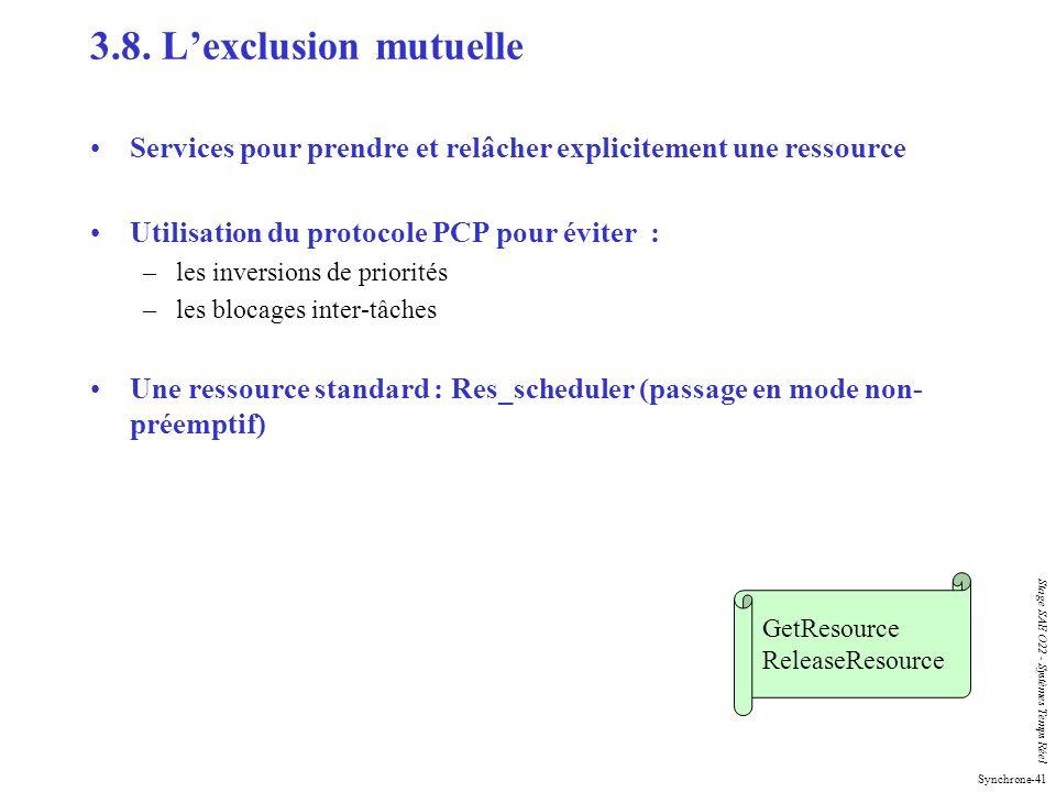 3.8. L'exclusion mutuelle Services pour prendre et relâcher explicitement une ressource. Utilisation du protocole PCP pour éviter :