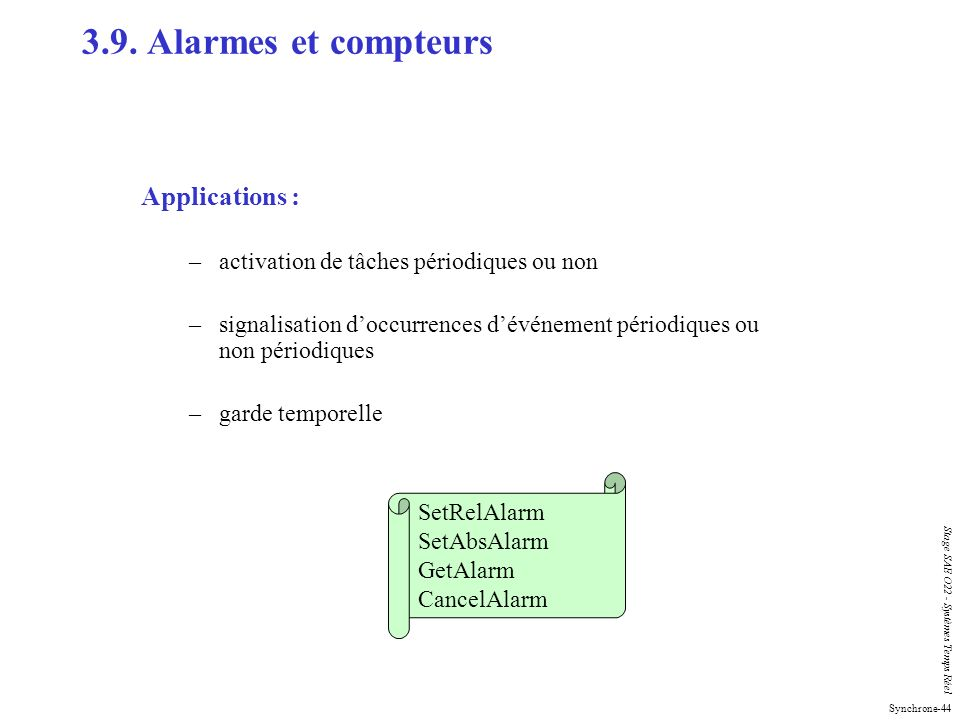 3.9. Alarmes et compteurs Applications :