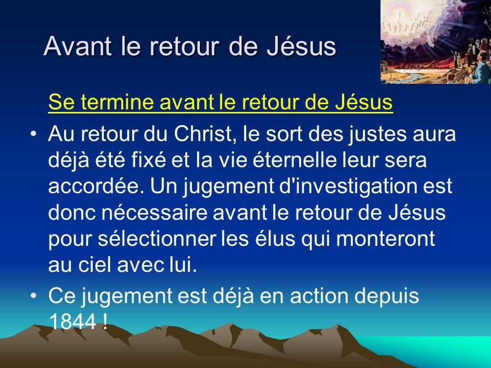 Avant le retour de Jésus