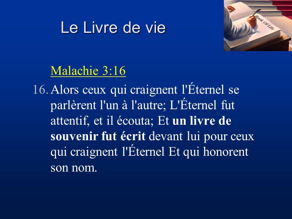 Le Livre de vie Malachie 3:16