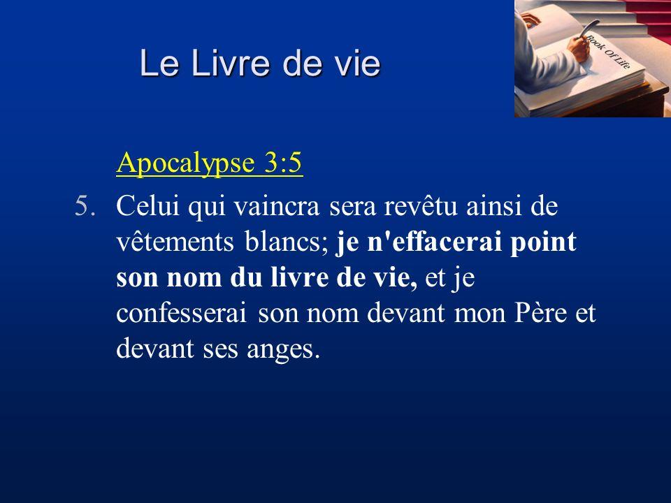 Le Livre de vie Apocalypse 3:5