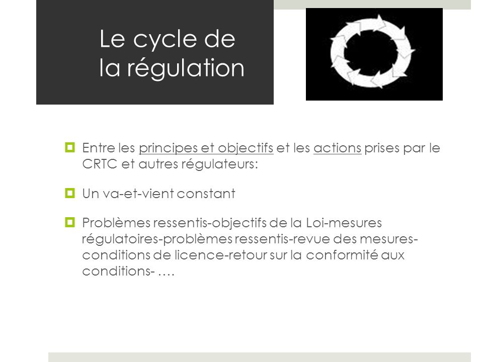 Le cycle de la régulation