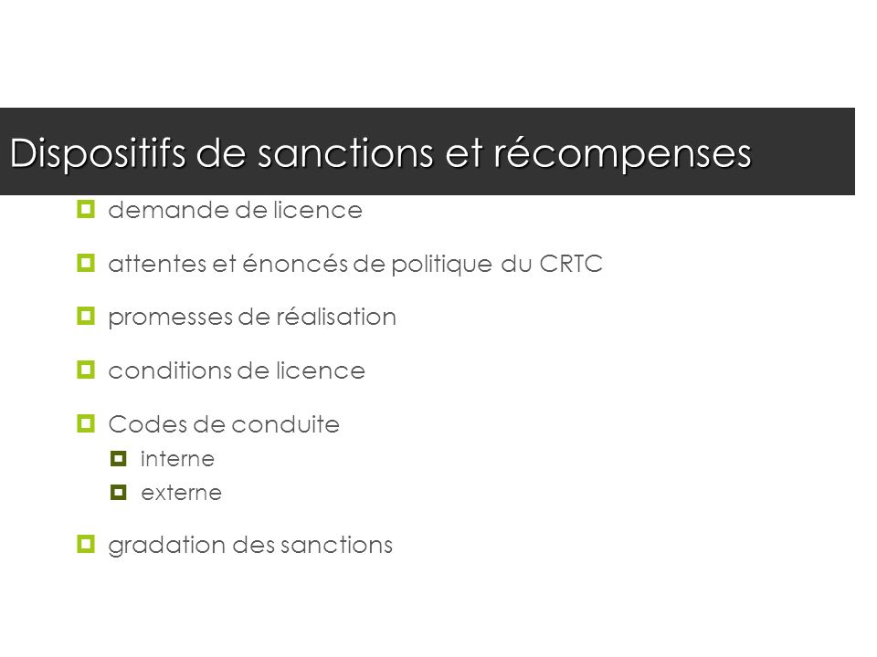 Dispositifs de sanctions et récompenses