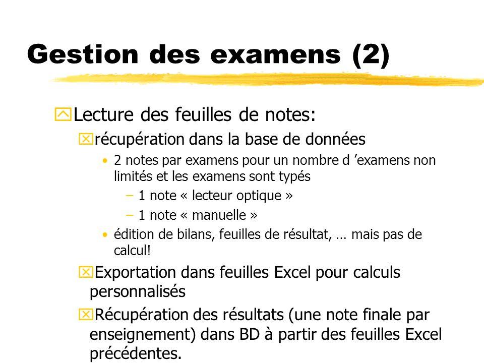 Gestion des examens (2) Lecture des feuilles de notes:
