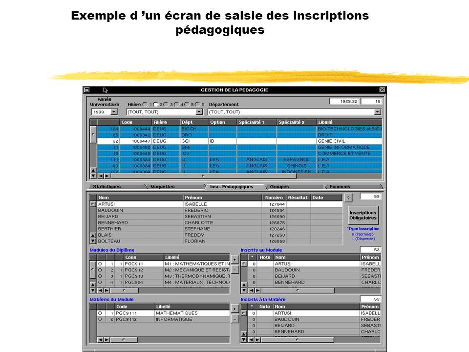 Exemple d 'un écran de saisie des inscriptions pédagogiques