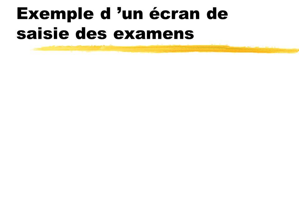 Exemple d 'un écran de saisie des examens