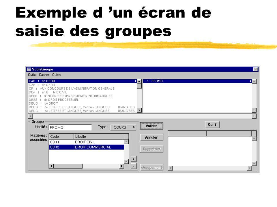 Exemple d 'un écran de saisie des groupes