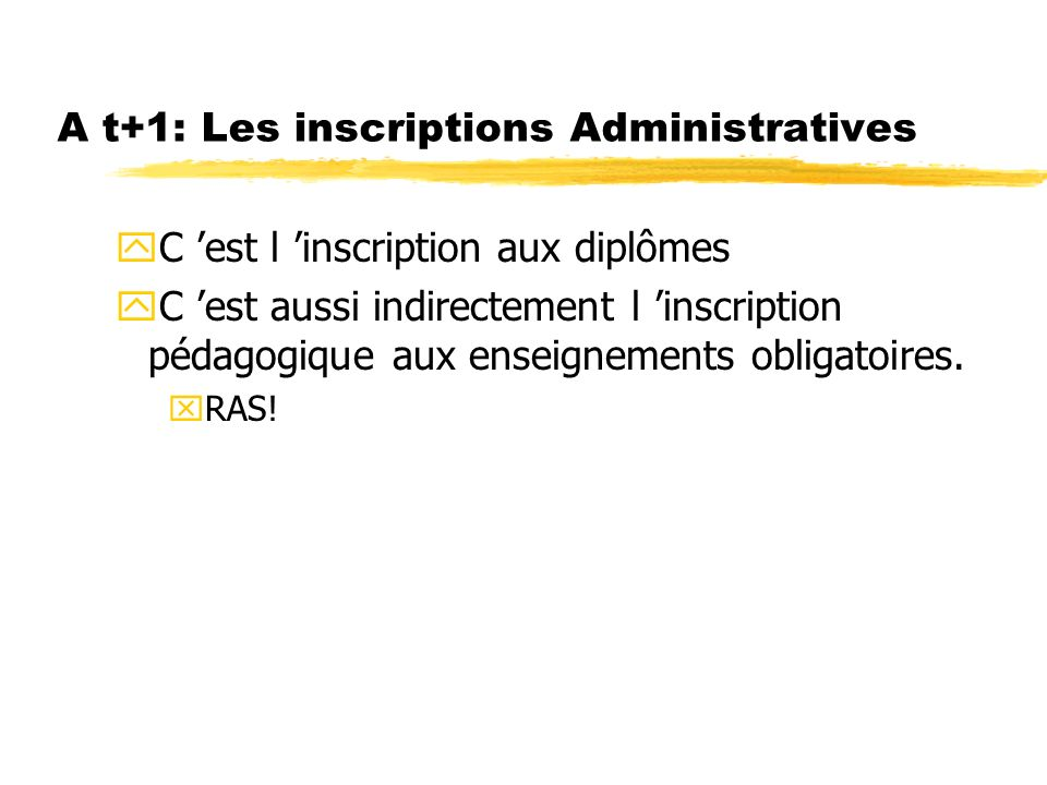 A t+1: Les inscriptions Administratives