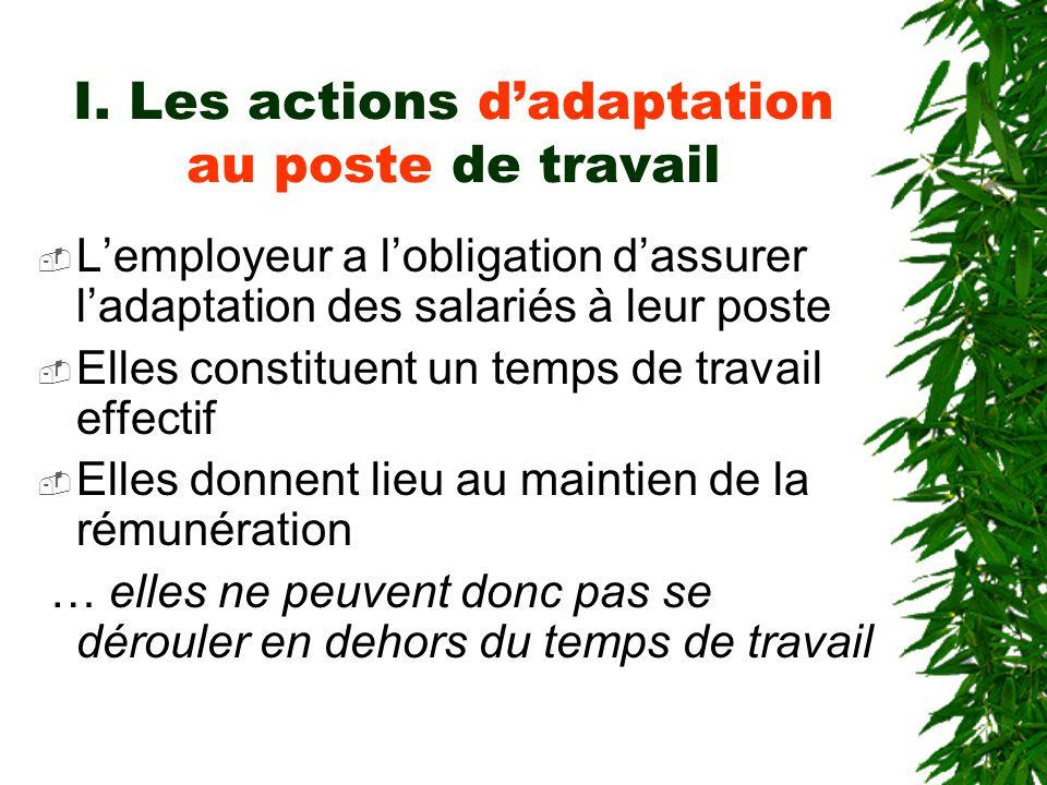 I. Les actions d'adaptation au poste de travail