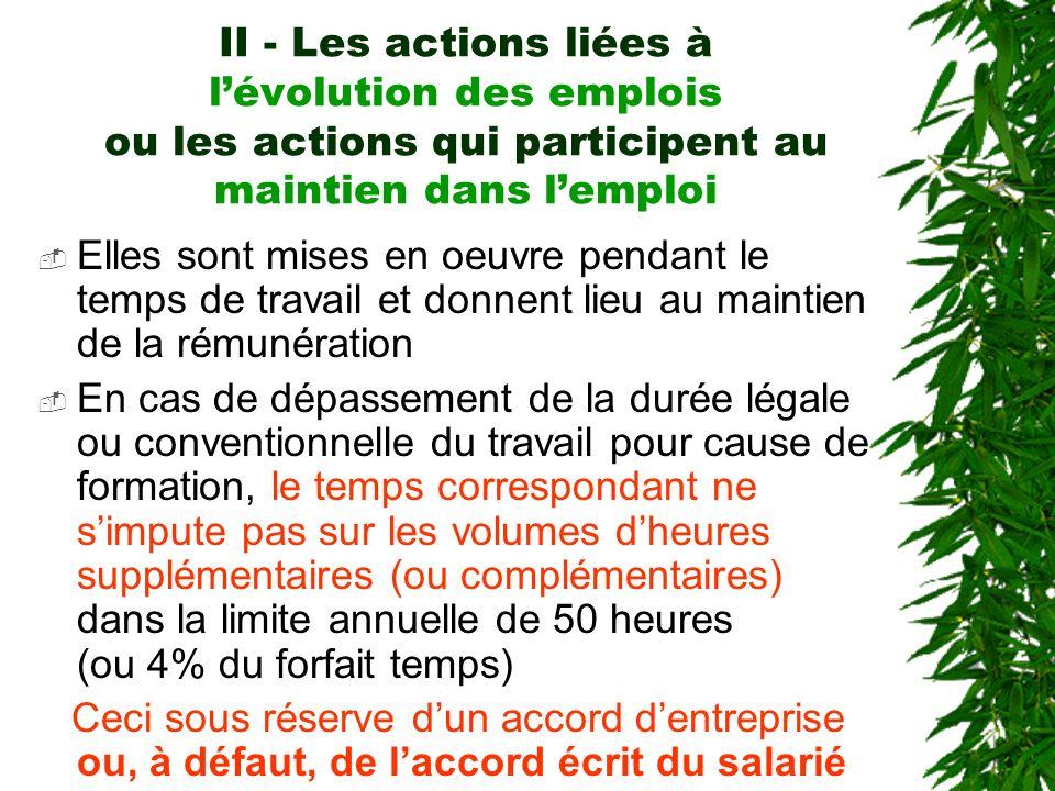 II - Les actions liées à l'évolution des emplois ou les actions qui participent au maintien dans l'emploi
