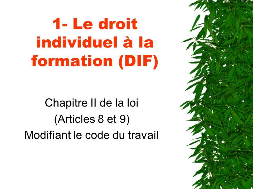 1- Le droit individuel à la formation (DIF)