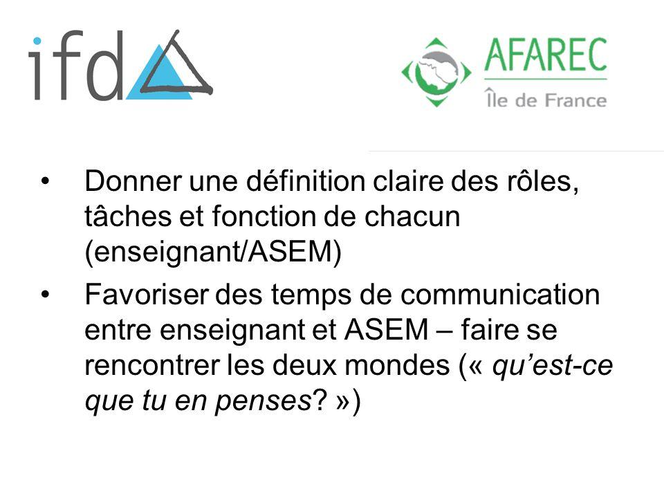 Donner une définition claire des rôles, tâches et fonction de chacun (enseignant/ASEM)