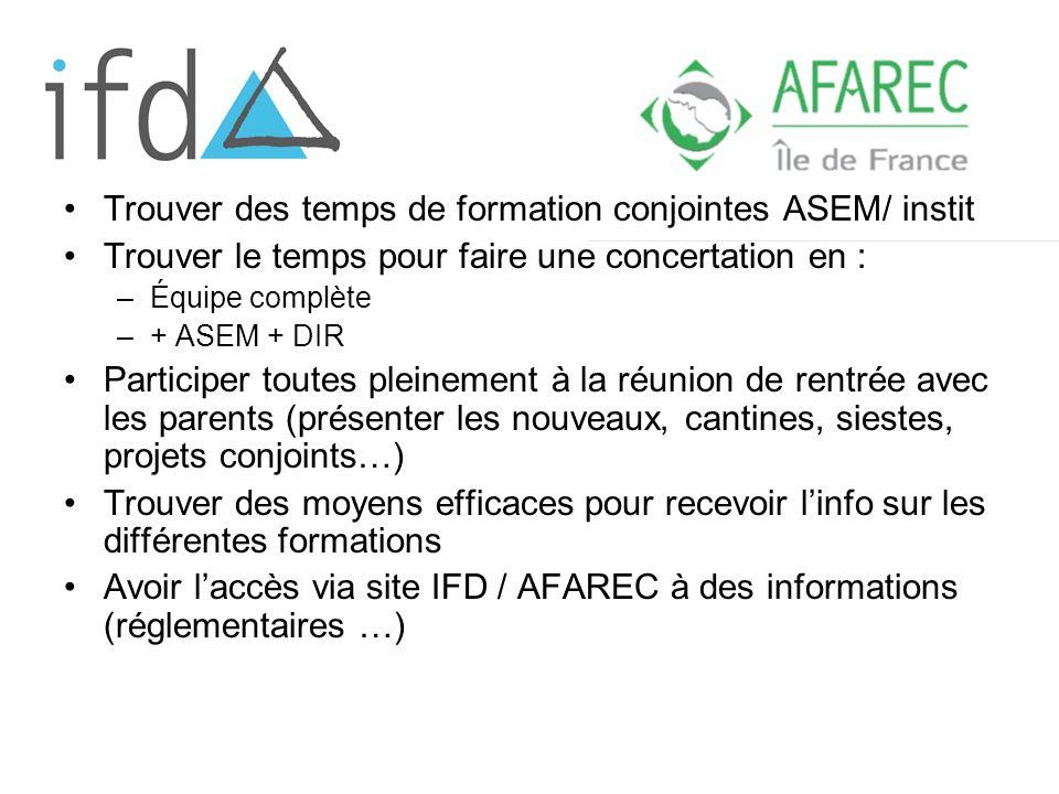 Trouver des temps de formation conjointes ASEM/ instit