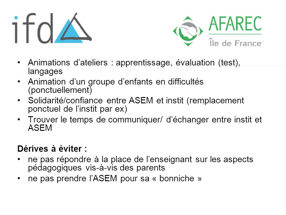 Animations d'ateliers : apprentissage, évaluation (test), langages
