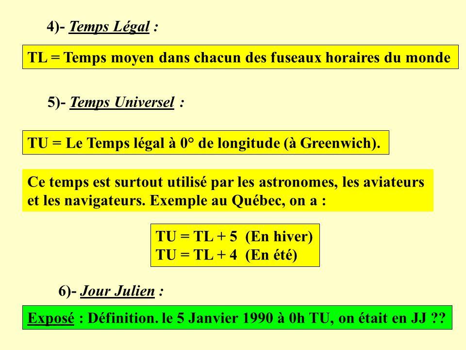 4)- Temps Légal : TL = Temps moyen dans chacun des fuseaux horaires du monde. 5)- Temps Universel :